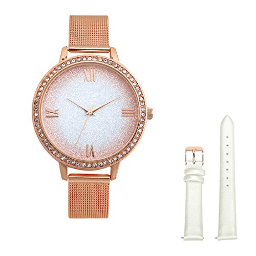 LONBUYS Women's Watches Crystal Markers Bezel Women Analog Quartz Dress Casual Fashion Waterproof Wrist Watch with Stainless Steel Mesh Strap Gift to Leather Watch Bands (Rose Gold) (W40151-2)