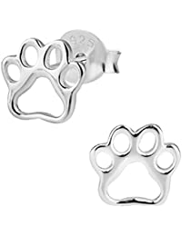 Hypoallergenic Sterling Silver Puppy Paw Print Stud Earrings for Kids (Nickel Free)