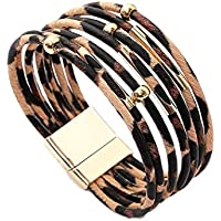 Wumedy Womens Leopard Bracelet Metal Pipe Charm Multi-layer Wide Wrap Bangle (Beige)