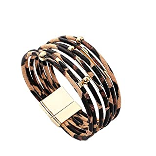 Wumedy Women Leopard Bracelet Metal Pipe Charm Multilayer Wide Leather Wrap Bangle Gift Bangle