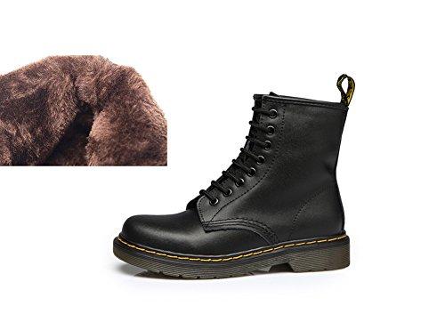 Tortor 1bacha Päls Fodrad Vinter Läder Bekämpa Stövlar För Kvinnor Och Män Svart
