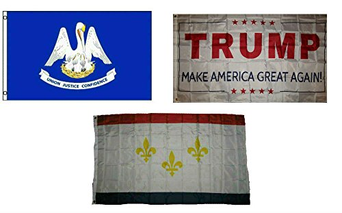 (ALBATROS 3 ft x 5 ft Trump White with State Louisiana with City New Orleans Set Flag for Home and Parades, Official Party, All Weather Indoors)