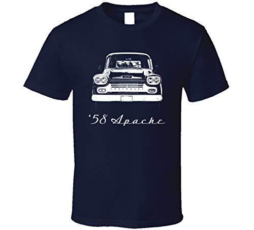 1958 Apache 32 Stepside Truck Grill View with Model Year Dark Color T Shirt XL Navy