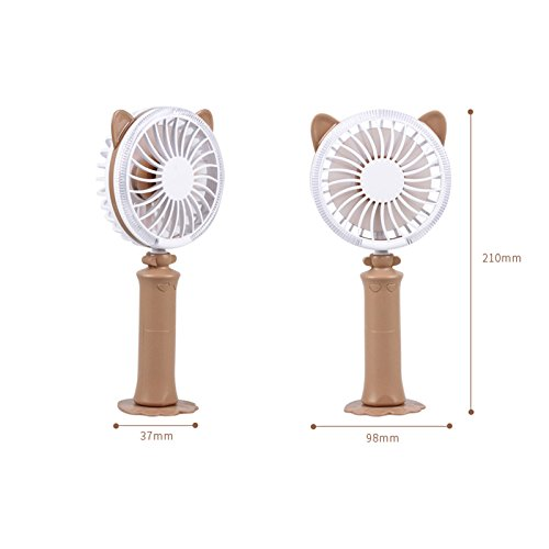 ASOSMOS Mini Handheld USB Fan Fan Cooling Fan Rechargeable Adjustable Table Cooler Fan with 2 Adjustable Speed for Home, Office, Travel, Outdoor (Brown)