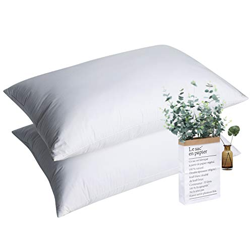 "WarmKiss Luxurious White Goose Feather Bed Pillow (Set of 2, Standard/Queen Size 20""x 30"") 100% Cotton Shell Medium Firm and Soft Support Dust Mite Resistant & Hypoallergenic ()"