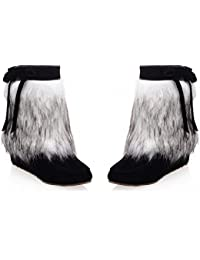 Women's Fashion Ribbons Faux-fur Wedge Mid-heel Short Winter Snow Boots