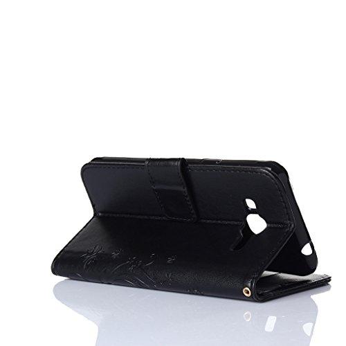 Trumpshop Smartphone Carcasa Funda protección para Samsung Galaxy J3 Prime + Negro + PU Cuero Caja Protector Billetera con la Ranura la Tarjeta Choque Absorción Negro