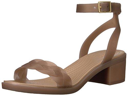 Crocs Women's Isabella Block Heel W Wedge Sandal, Bronze/Gold, 8 M US (Crocs Heel Strap)