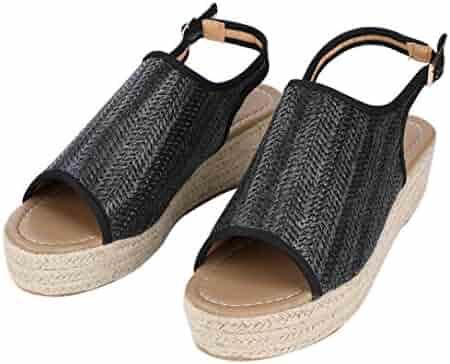 b67cc4c7cdd8 ZKYSO Women s Platform Espadrille Sandals Slip On Slingback Buckle High  Heel Open Toe Wedge Braided Sandal