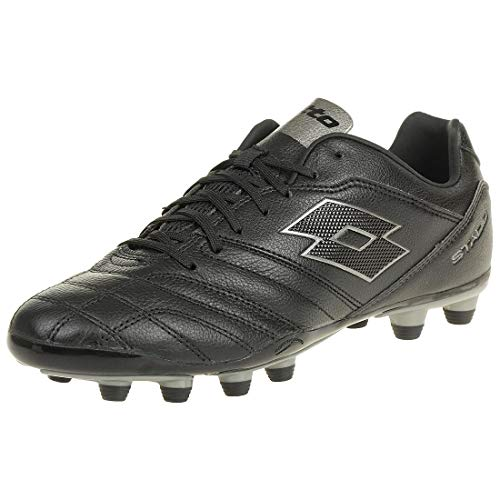 c92090bbe Lotto Stadio 300 II FG Men Soccer Outdoor Leather Black Grey T3402, Shoe  Size: