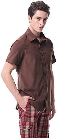 P-10X Camisa de Pana de Manga Corta Slim-Fit para Hombre(XL, Brown): Amazon.es: Ropa y accesorios