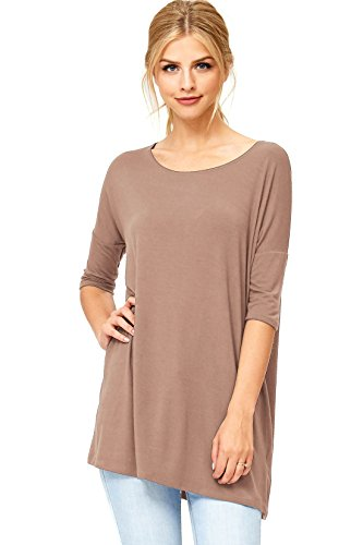 Emma's Closet Women's Casual Slouchy Fit Dolman Sleeve Top (L, Cocoa)
