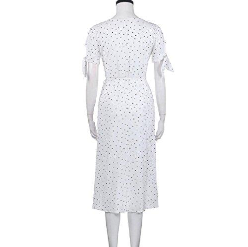 Rcool Frauen V-Ausschnitt weiß Kurzarm Boho Long Maxi Polka Dot Abend Party Kleid