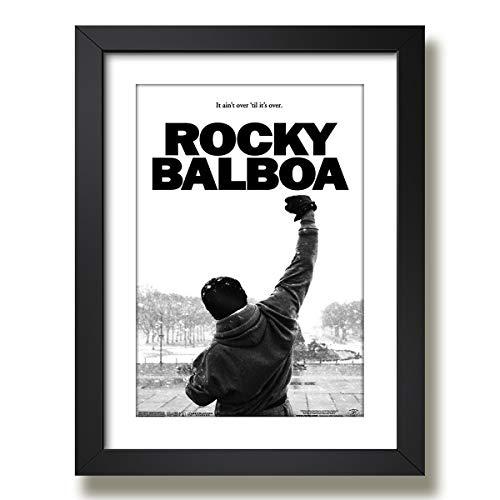 Quadro Rocky Balboa Filme Boxe Luta Stallone Decoracao Moldura Paspatur Pronto para Pendurar
