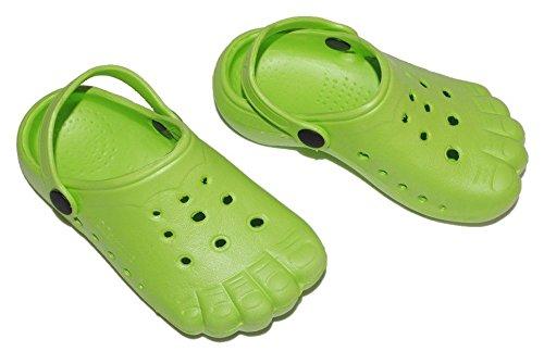 Clogs grün / grüne Füße - Größe 25 Schuhe Schuh Sandalen Badeschuhe Hausschuh Pantoffel Kinder - Badeschuh / Hausschuhe / Gartenschuhe