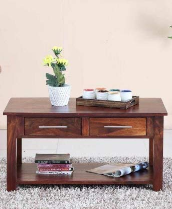 Onlineshoppee Handmade Sheesham Wood 2 Drawer  amp; Top Storage Coffee Table