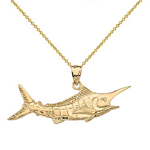 Polished 14k Yellow Gold Billfish Black Marlin Pendant Necklace, 18