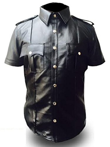 Olly And Ally PU Leather Mens Police Style Collar T-Shirt (Small, All Black)