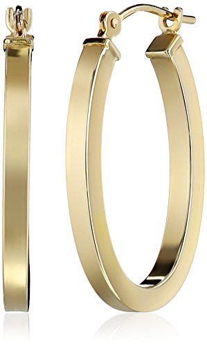 "14k Yellow Gold Square Tube Oval Hoop Earrings (0.6"" Diameter)"