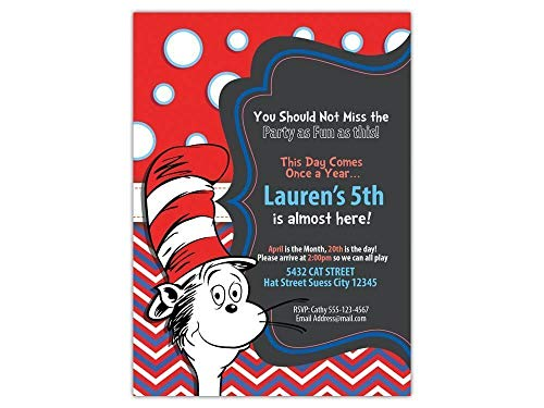 Custom Cat in the Hat Birthday Party Invitations for Kids, 10pc-60pc 4