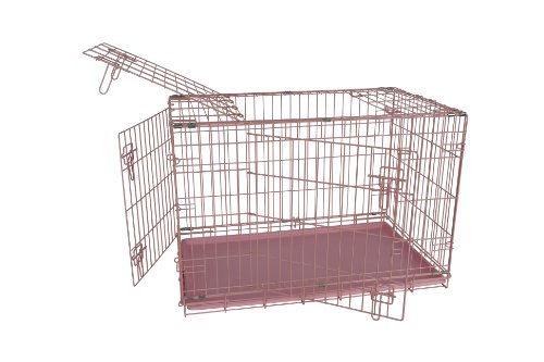 Allmax 3-Door Folding Metal Dog Crate with ABS Tray, Small, Pink Review