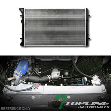 Topline Autopart Aluminum Core Replacement Radiator Cooler For MT Manual Transmission For 99-09 Audi TT /Quattro / VW Golf GTI R32 MK4 Jetta 1.8L 1.9L 2.0L 2.8L 3.2L L4 V6 Turbocharged Engine DPI 2265