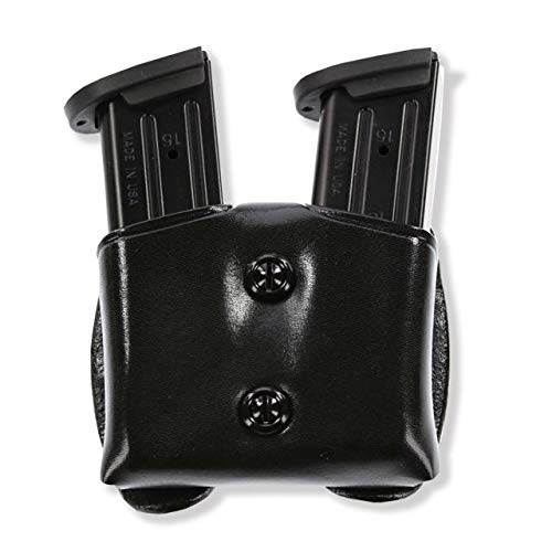 Galco CDM Cop Double Mag Case for 9mm.40.357 Sig Staggered Metal Magazines (Black, Ambi)