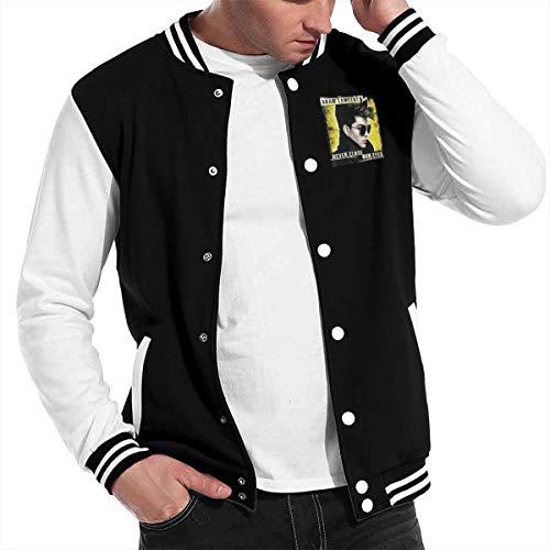 Mens Baseball Uniform Jacket Sport Coat Adam Run-Lambert Cotton Sweater Black ()