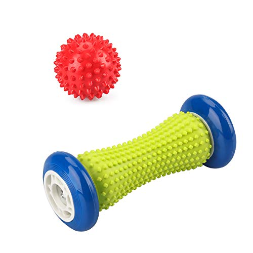 een&Blue Hand Plantar Fascia Relaxation Roller&Red Spiked Ball Perfect for Myofascial Release and Trigger Point Therapy ()