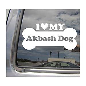 I Heart Love My Akbash Dog - Bone Turkey Akbaş Çoban Köpeği Pure Breed Cars Trucks Moped Helmet Hard Hat Surfboard Skateboard Auto Automotive Craft Laptop Vinyl Decal Store Window Wall Sticker 13021 2