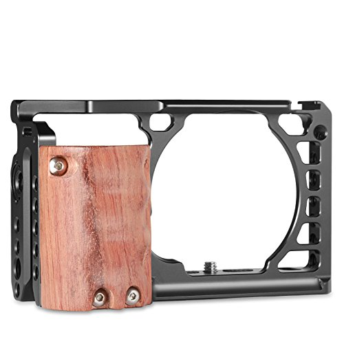 (SMALLRIG Camera A6500 Cage Kit with Wooden Handle Hand Grip for Sony Alpha A6500/ILCE-6500 4K Digital Mirrorless Camera - 2097)