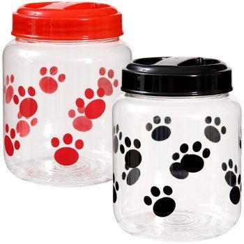 (Cats BPA-Free Plastic Airtight Pet Treat & Food Storage Containers Canisters Black & Red Paw Print (Set of 2) )