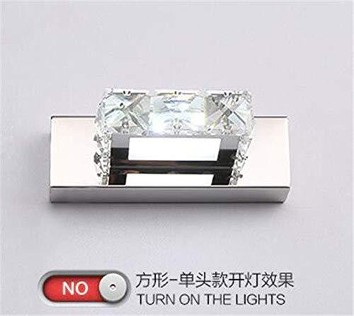 Modernes Kristallbad führte Wandlampe Badezimmer-Spiegel-Frontlicht-Wand-Beleuchtung, warmes Weiß, Quadrat, 3 führte = 9W