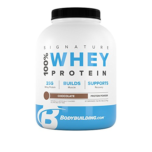 BodyBuilding.Com Signature 100 Whey Protein Powder 25g of Protein per Serving Chocolate, 5 Lbs