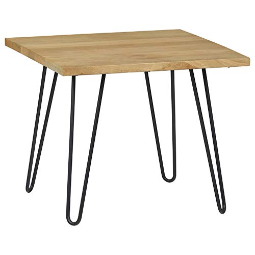 """Rivet Industrial Solid Wood Lamp Table with Hairpin Metal Legs, 23.62""""W"""