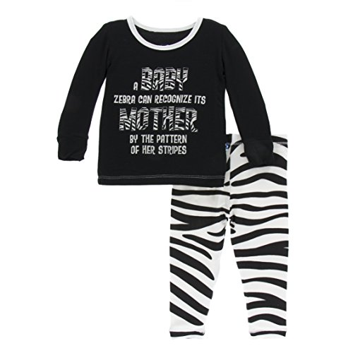 (Kickee Pants Little Girls Print Print Long Sleeve Pajama Set, Natural Zebra Print, Girls 10 Years)