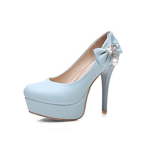 VogueZone009 Damen Ziehen auf PU Leder Rund Zehe Hoher Absatz Rein Pumps Schuhe, Weiß, 37