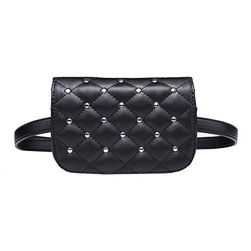 YAOSEN Women PU Leather Quilted Waist Bag Solid Color Fanny Pack with Removable Belt (Rivet)