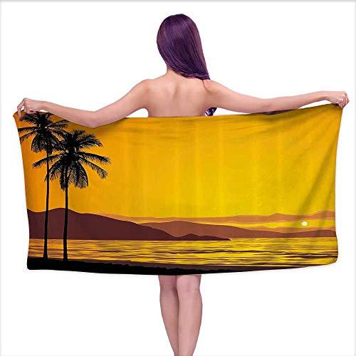 Aurauiora Bath Towel Set Tropical,Coconut Palm Tree on