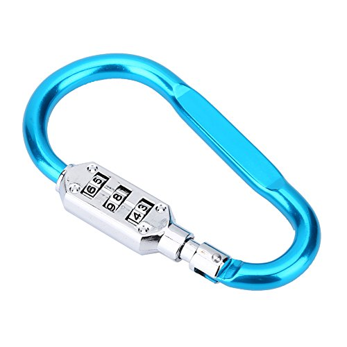 VGEBY Aluminum Carabiner Keychain Hook Buckle Clip with 3 Digits Code Lock for Camping Climbing(Blue) ()