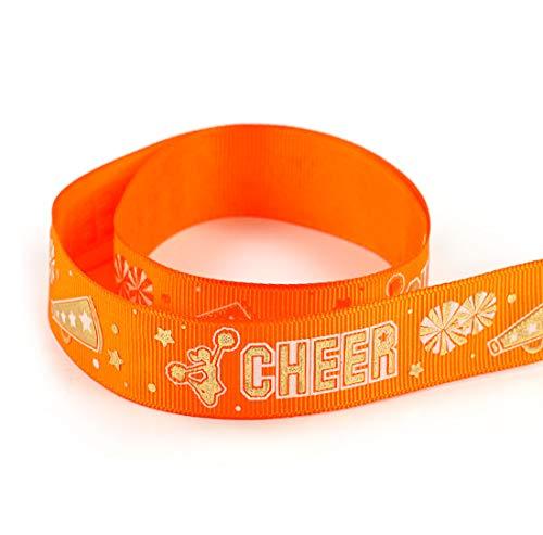 Grosgrain Polyester Ribbon Gold Sparkle Cheerleader Spirit Sport Cheer Team Ribbon 10 Yards 7/8
