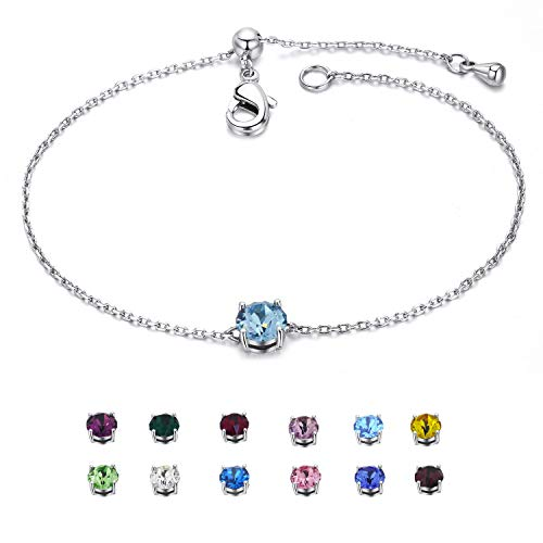 EGOO&YAMEE March Birthstone Bracelet Silver Copper White Gold Plated Cz Crystal Hearts & Arrows Adjustable Bangle (12 Color) Gifts for Women