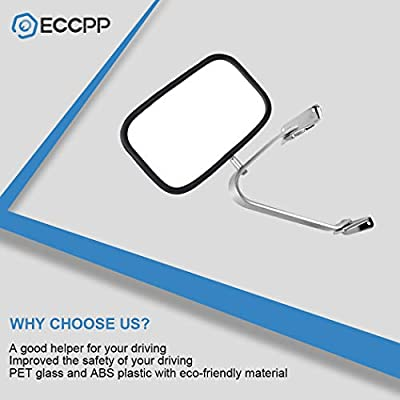 ECCPP Towing Mirrors Replacement fit 80-96 Ford F-Series F150 F250 F350 Bronco Chrome Manual Pair Truck SUV Pickup Mirrors: Automotive