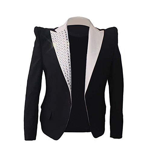Thriller9 Michael Jackson Blazer Jacket Rare Classic MJ This is It Jacket Informal Crystal Collar Suit Blazer Gift
