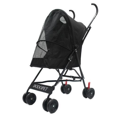 Paw Essentials Light Four Wheel Pet Carrier Stroller Cart for cats and dogs - Black, up to 22lbs