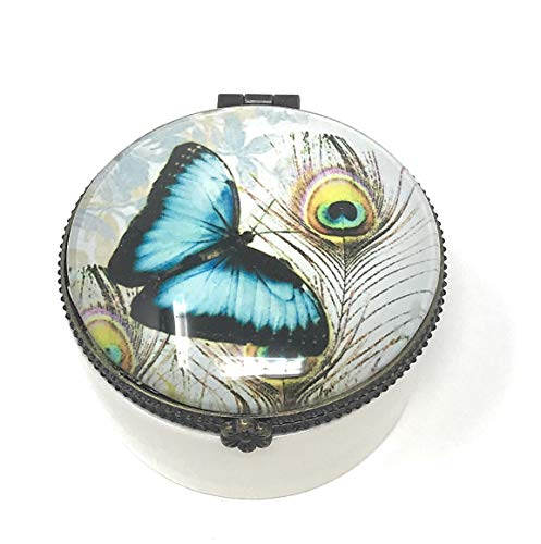 Value Arts Blue Butterfly and Peacock Feather Trinket Box, Ceramic and Glass, 2.25 Inch Diameter