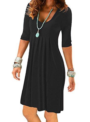 Women's Black Half Sleeve Empire Waist Plain Pleated Loose Swing Work Casual Dresses Knee Length