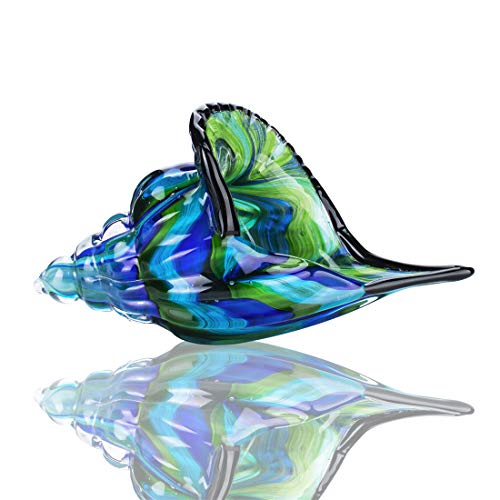 YU FENG Escultura de concha de cristal, decoracion de centro de mesa, vidrio soplado a mano, diseno de concha marina (multicolor)