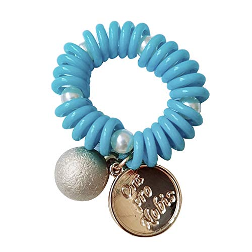 heaven2017 Faux Pearl Elastic Spiral Coil Ponytail Holder Hair Rope Bracelet Ties Scrunchies for Women Blue ()