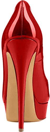 Trusify Mujer 15cm EU tamaño 34-46 Truthunder Tacón de aguja 15CM Sintético Sandalias de vestir Rojo Scarlet